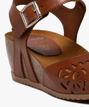 Sandales femme à talon compensé et bride en cuir ajouré vue6 - GEMO(URBAIN) - GEMO