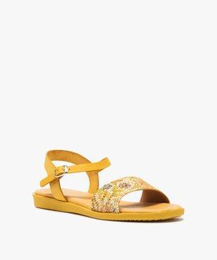 Sandales femme à talon plat dessus en cuir imprimé vue2 - GEMO (CASUAL) - GEMO
