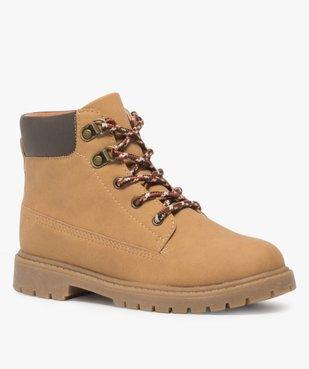 Boots garçon avec col rembourré, lacets montagne et semelle crantée vue2 - GEMO (ENFANT) - GEMO