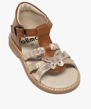 Sandales bébé fille en cuir talon fermé et brides métallisées vue5 - GEMO(BEBE DEBT) - GEMO