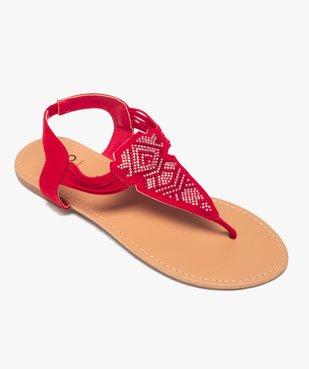 Sandales femme à entre-doigts brides élastiquées à strass vue5 - GEMO (CASUAL) - GEMO