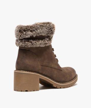 Boots femme à col duveteux, talon carré et semelle crantée vue4 - GEMO(URBAIN) - GEMO
