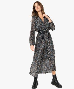 Robe femme longue en voile imprimé et grosse ceinture vue1 - Nikesneakers(FEMME PAP) - Nikesneakers
