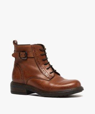 Boots fille dessus cuir ajouré à fermeture lacets et zip vue2 - GEMO (ENFANT) - GEMO