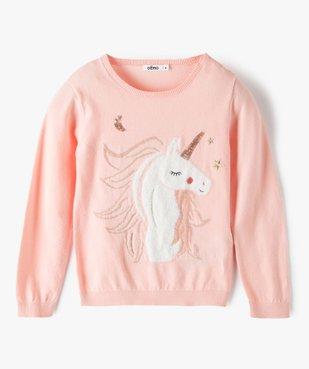 Pull fille avec motif animalier pailleté et sequins brodés vue1 - GEMO (ENFANT) - GEMO