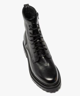 Boots femme unis style rock à lacets et semelle crantée vue5 - GEMO (CASUAL) - GEMO