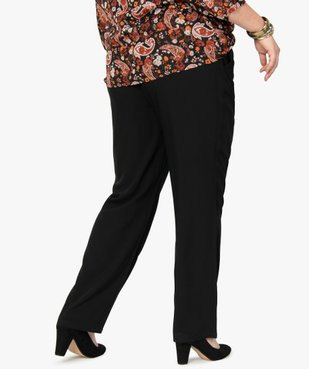 Pantalon femme uni large et fluide à taille élastiquée vue3 - GEMO (G TAILLE) - GEMO