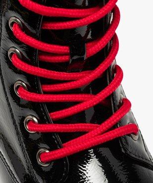 Boots femme rangers à semelle crantée lacets contrastés Dessus uni et vernis vue6 - GEMO (CASUAL) - GEMO