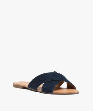 Sandales femme à larges brides croisées souples dessus denim vue2 - GEMO (CASUAL) - GEMO