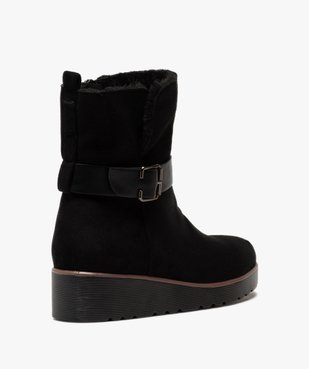Boots femme à semelle plateforme en suédine unie vue4 - GEMO(URBAIN) - GEMO