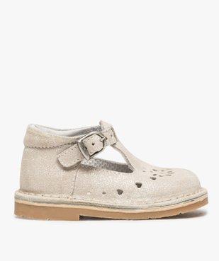 Chaussures de marche bébé fille avec dessus cuir à pailettes vue1 - GEMO(BEBE DEBT) - GEMO