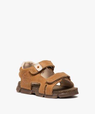 Sandales garçon tout terrain en cuir à scratchs - Bopy vue2 - BOPY - GEMO
