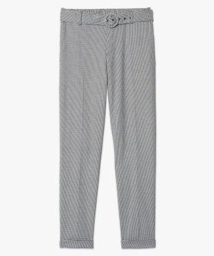 Pantalon femme pied-de-poule à ceinture et revers vue4 - GEMO(FEMME PAP) - GEMO