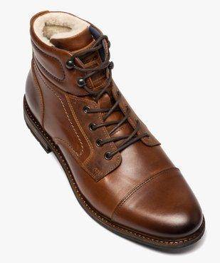 Boots homme à lacets dessus cuir et intérieur polaire vue5 - GEMO (CASUAL) - GEMO
