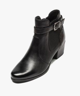 Boots femme à talon rainuré dessus cuir uni vue5 - GEMO(URBAIN) - GEMO