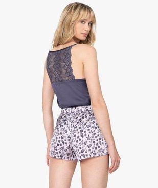 Haut de pyjama femme à fines bretelles et dos dentelle vue2 - GEMO(HOMWR FEM) - GEMO