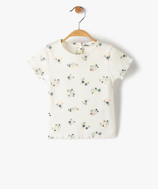 Tee-shirt bébé fille en maille côtelée  vue1 - GEMO C4G BEBE - GEMO