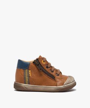 Chaussures premiers pas bébé garçon à lacets et zip - Bopy vue1 - BOPY - GEMO