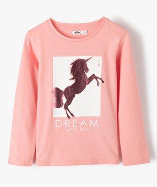 Tee-shirt fille à manches longues et motif sur l'avant vue1 - GEMO C4G FILLE - GEMO