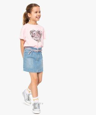 Jupe fille en jean avec pinces et ceinture – Lulu Castagnette vue6 - LULUCASTAGNETTE - GEMO