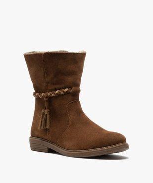 Boots fille unies en cuir fermeture zippée et doublure douce vue2 - Nikesneakers (ENFANT) - Nikesneakers