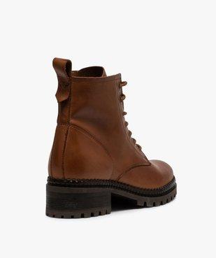 Boots femme dessus cuir uni à lacets et semelle crantée vue4 - GEMO (CASUAL) - GEMO