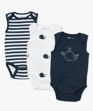 Body bébé mixte avec motifs baleines (lot de 3) vue1 - GEMO C4G BEBE - GEMO