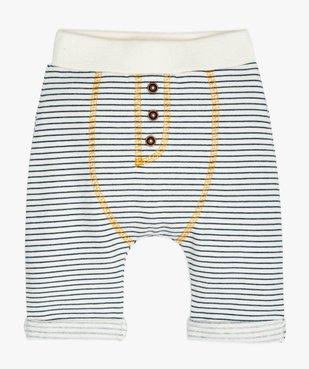 Pantalon bébé confortable en maille rayée avec motif ours au dos vue1 - GEMO(BB COUCHE) - GEMO