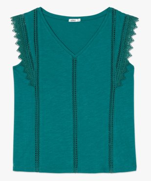Tee-shirt femme à col V dentelle et crochet vue4 - GEMO(FEMME PAP) - GEMO