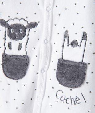 Pyjama bébé en velours fermeture devant motifs étoiles vue2 - GEMO(BB COUCHE) - GEMO