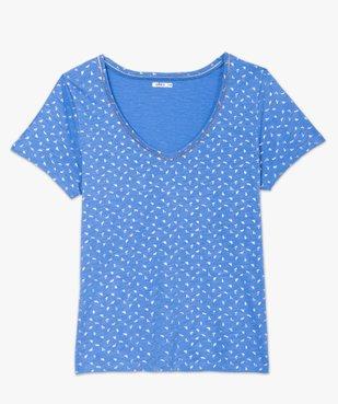 Tee-shirt femme à col V et détails dorés vue4 - GEMO (G TAILLE) - GEMO