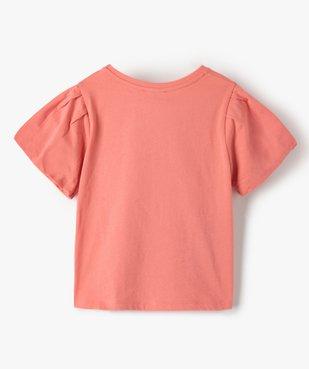 Tee-shirt fille court à manches froncées avec motif poitrine vue3 - GEMO (ENFANT) - GEMO