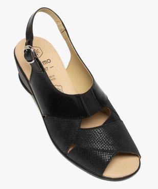Sandales femme confort en cuir uni et talon compensé vue5 - GEMO (CONFORT) - GEMO