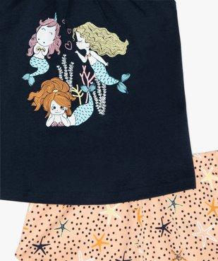 Pyjashort fille à bretelles et motif sirènes vue2 - GEMO (ENFANT) - GEMO