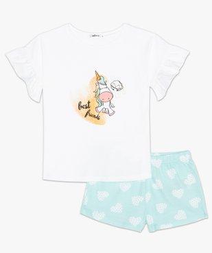 Pyjashort fille avec motif licorne et cœurs vue2 - GEMO (ENFANT) - GEMO