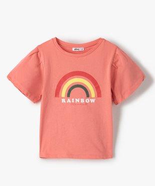 Tee-shirt fille court à manches froncées avec motif poitrine vue1 - GEMO (ENFANT) - GEMO