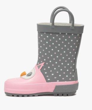 Bottes de pluie bébé fille à anses motif chouette en relief  vue3 - GEMO(BEBE DEBT) - GEMO