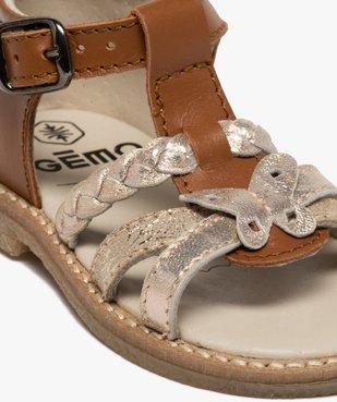 Sandales bébé fille en cuir talon fermé et brides métallisées vue6 - GEMO(BEBE DEBT) - GEMO