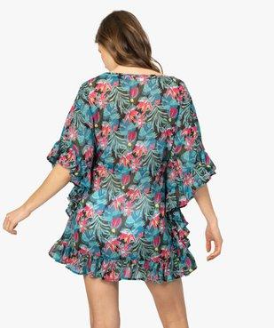 Robe de plage femme fleurie à liseré pailleté et volants vue3 - GEMO (PLAGE) - GEMO