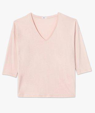 Tee-shirt femme à manches ¾ col V vue4 - GEMO(FEMME PAP) - GEMO