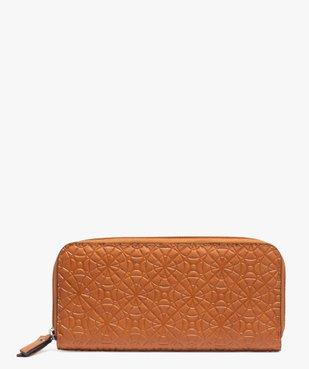Portefeuille femme en matière texturée à motifs rosaces vue1 - GEMO (ACCESS) - GEMO
