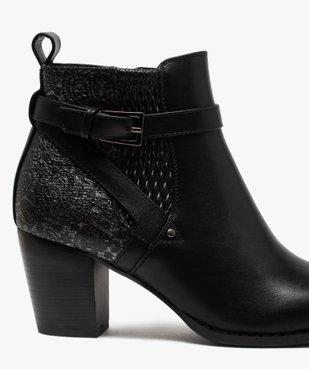 Boots femme à talon dessus multi-matières vue6 - GEMO(URBAIN) - GEMO