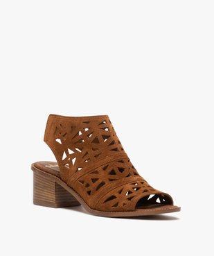 Sandales femme à talon carré et tige couvrante ajourée vue2 - GEMO(URBAIN) - GEMO