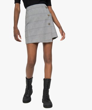 Jupe short femme effet portefeuille motif Prince de Galles  vue1 - GEMO(FEMME PAP) - GEMO