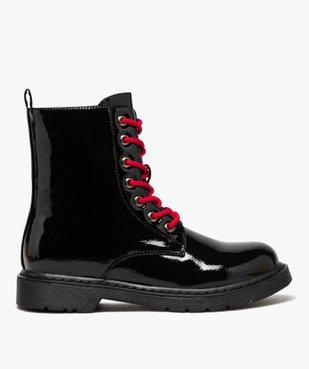 Boots femme rangers à semelle crantée lacets contrastés Dessus uni et vernis vue1 - GEMO (CASUAL) - GEMO