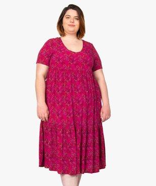 Robe femme longue à col V à motifs fleuris vue1 - GEMO (G TAILLE) - GEMO