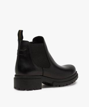 Boots femme style chelsea unis à talon carré et semelle crantée  vue4 - GEMO (CASUAL) - GEMO