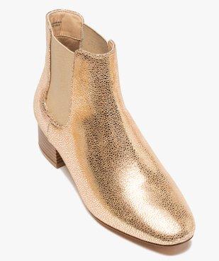 Boots femme unies style chelsea à talon carré vue5 - GEMO (CASUAL) - GEMO