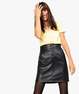 Jupe femme en cuir imitation avec boutons fantaisie vue2 - GEMO(FEMME PAP) - GEMO