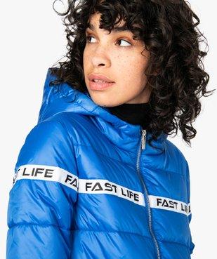 Doudoune femme à capuche et bande imprimée vue2 - FOLLOW ME - Nikesneakers